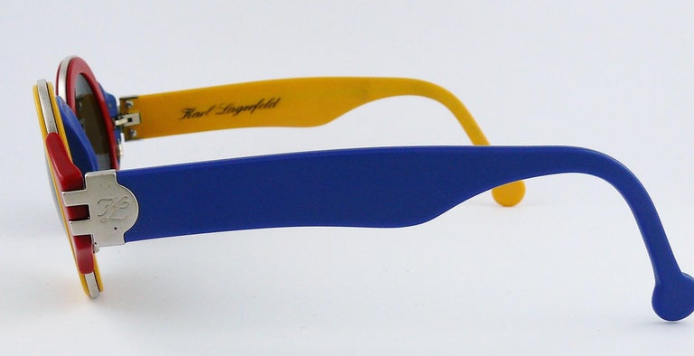 Karl Lagerfeld Vintage 1985 Limited Edition Colour Block Sunglasses For Sale 5