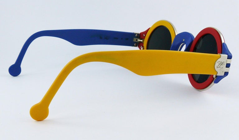 Karl Lagerfeld Vintage 1985 Limited Edition Colour Block Sunglasses For Sale 6