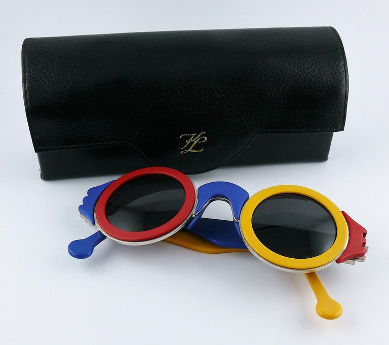 Black Karl Lagerfeld Vintage 1985 Limited Edition Colour Block Sunglasses For Sale