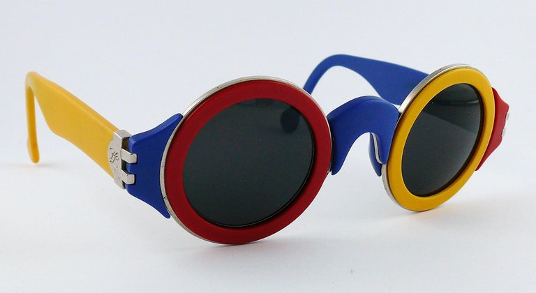 Women's or Men's Karl Lagerfeld Vintage 1985 Limited Edition Colour Block Sunglasses For Sale