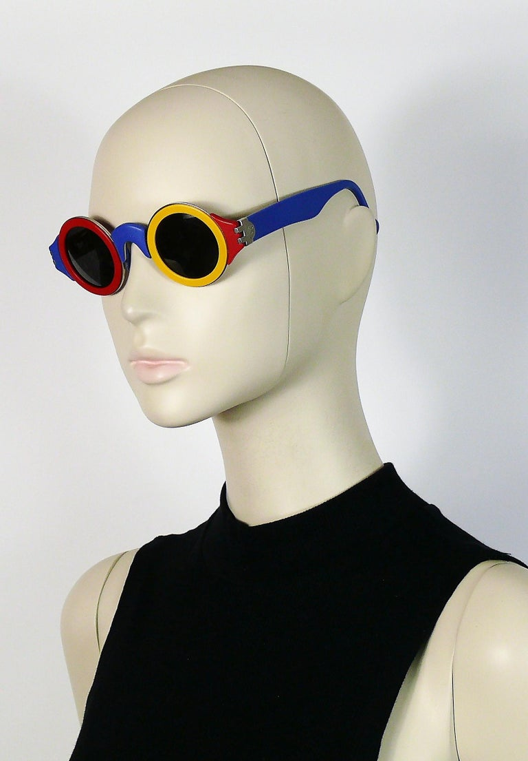 Karl Lagerfeld Vintage 1985 Limited Edition Colour Block Sunglasses For Sale 1