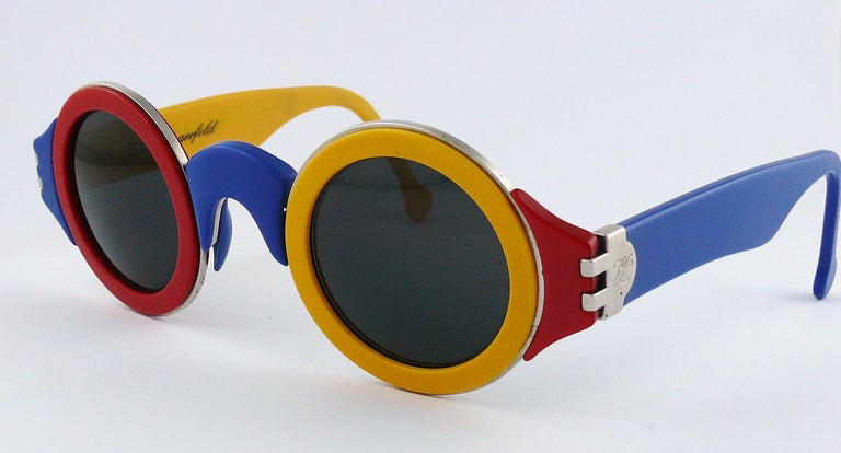 Karl Lagerfeld Vintage 1985 Limited Edition Colour Block Sunglasses For Sale 2