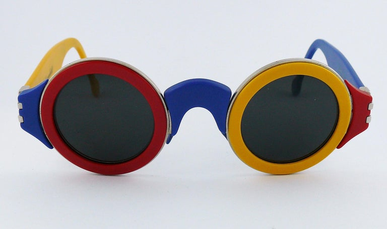 Karl Lagerfeld Vintage 1985 Limited Edition Colour Block Sunglasses For Sale 3