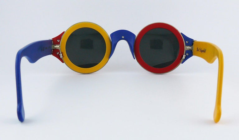 Karl Lagerfeld Vintage 1985 Limited Edition Colour Block Sunglasses For Sale 4