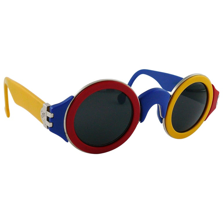 Karl Lagerfeld Vintage 1985 Limited Edition Colour Block Sunglasses For Sale