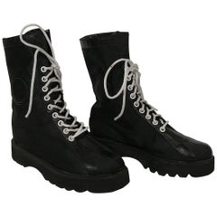 Karl Lagerfeld Vintage Black Lace Up Combat Boots