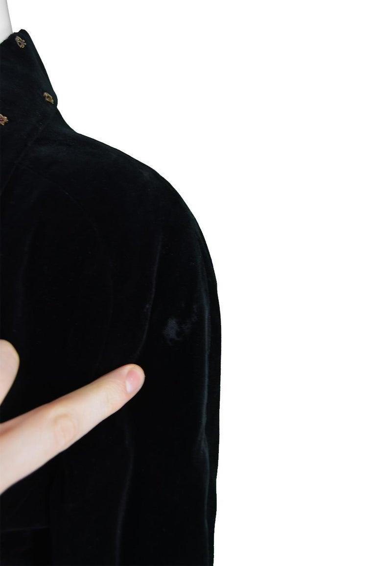 Karl Lagerfeld Vintage Black Velvet Metal Bullion Embroidered Jacket, 1980s 7