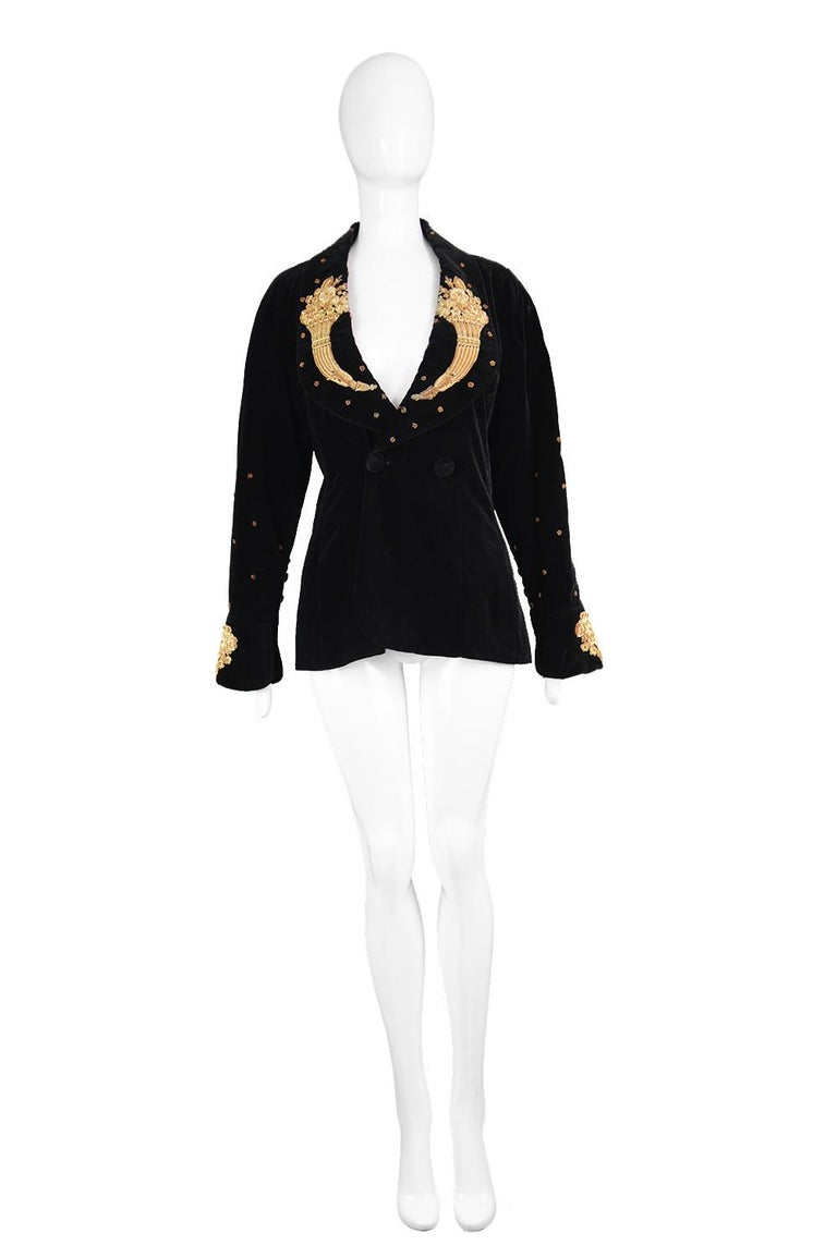 """Karl Lagerfeld Vintage Black Velvet Metal Bullion Embroidered  Blazer Jacket, 1980s  Estimated Size: UK 12/ US 8/ EU 40 Please check measurements & description by clicking 'Continue Reading' below. Bust - 38"""" / 96cm (allow a couple of inches room"""