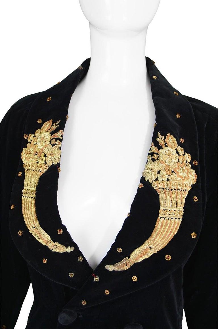 Karl Lagerfeld Vintage Black Velvet Metal Bullion Embroidered Jacket, 1980s In Good Condition In Doncaster, South Yorkshire