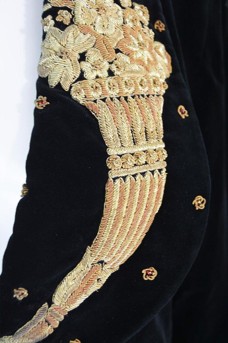 Women's Karl Lagerfeld Vintage Black Velvet Metal Bullion Embroidered Jacket, 1980s