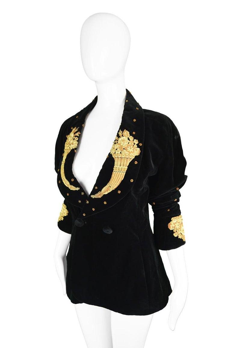 Karl Lagerfeld Vintage Black Velvet Metal Bullion Embroidered Jacket, 1980s 1