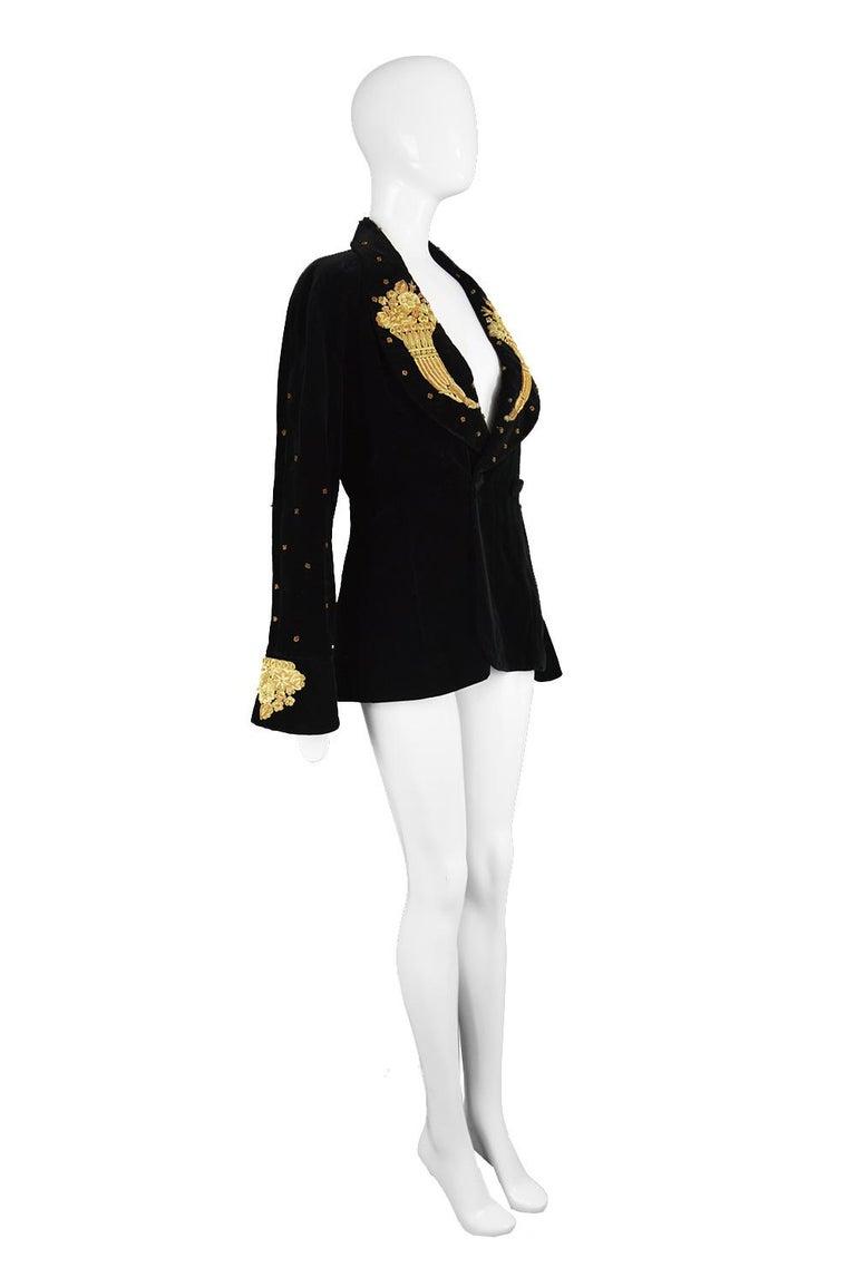 Karl Lagerfeld Vintage Black Velvet Metal Bullion Embroidered Jacket, 1980s 2