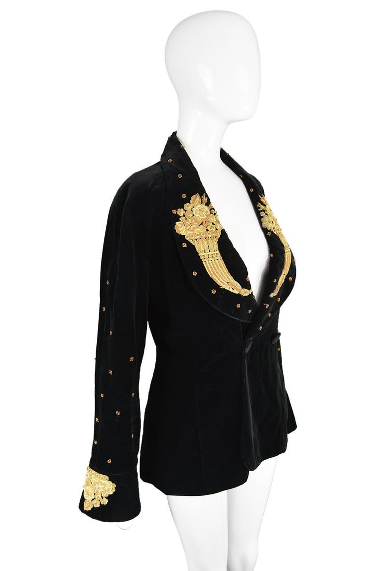 Karl Lagerfeld Vintage Black Velvet Metal Bullion Embroidered Jacket, 1980s 3