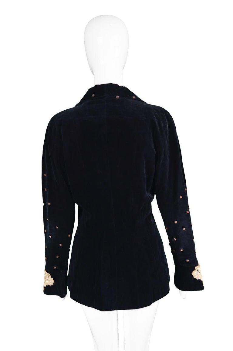 Karl Lagerfeld Vintage Black Velvet Metal Bullion Embroidered Jacket, 1980s 4
