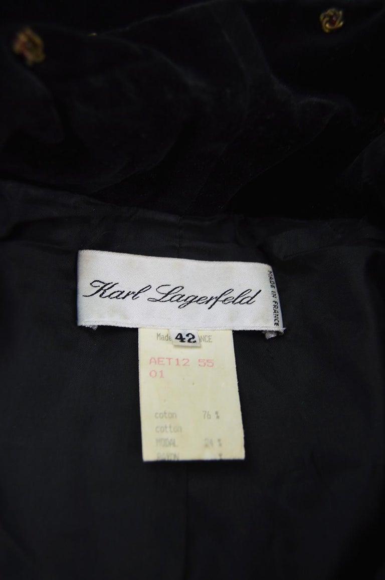 Karl Lagerfeld Vintage Black Velvet Metal Bullion Embroidered Jacket, 1980s 5