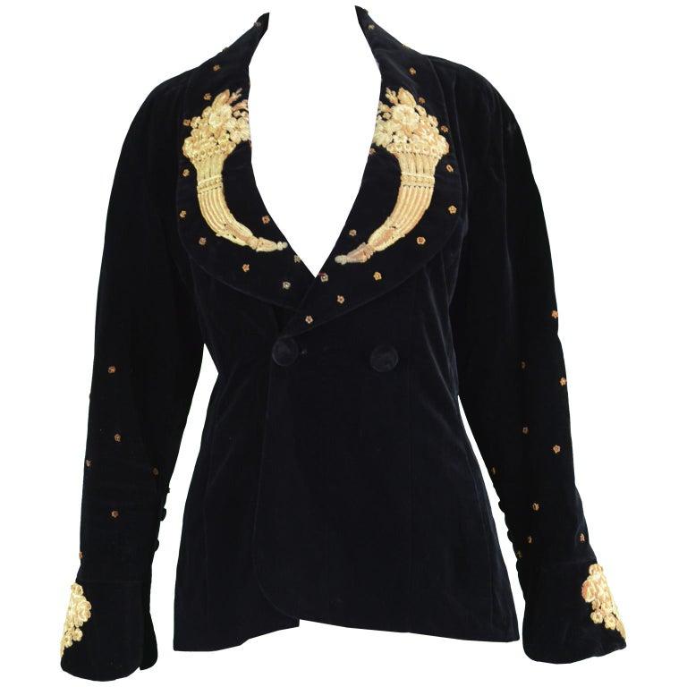 Karl Lagerfeld Vintage Black Velvet Metal Bullion Embroidered Jacket, 1980s