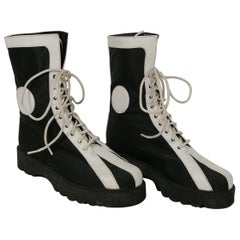 Karl Lagerfeld Vintage Black & White Lace Up Combat Boots