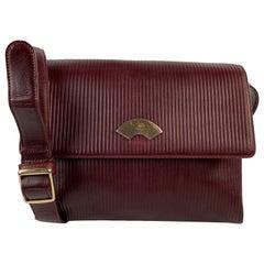 Karl Lagerfeld Vintage Burgundy Ribbed Leather Shoulder Bag