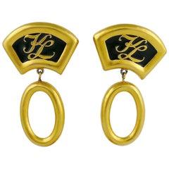 Karl Lagerfeld Vintage Iconic Fan Dangling Earrings