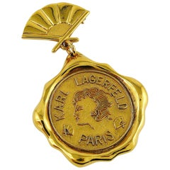 Karl Lagerfeld Vintage Massive Gold Toned Wax Seal and Fan Brooch