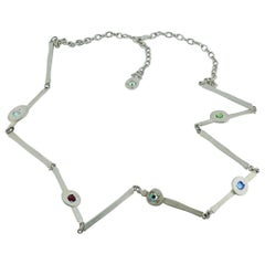 Karl Lagerfeld Vintage Multicolour Crystal Geometric Silver Toned Necklace