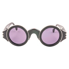 Karl Lagerfeld Vintage Round Black and Silver Sunglasses Made In Germany, 1980s