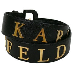 Karl Lagerfeld Vintage Spelled Letters Black Caviar Leather Belt