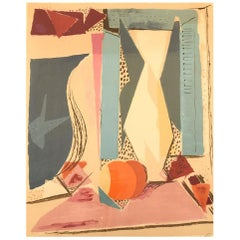 Karl Larsen Danish Painter, Color Lithography, Cubist Still Life