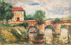 French Impressionist oil, 'River Landscape, Provence'