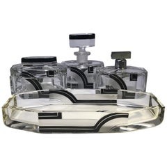 Karl Palda Original Art Deco Czech Black Enamel 4-Piece Vanity Perfume Set, 1930