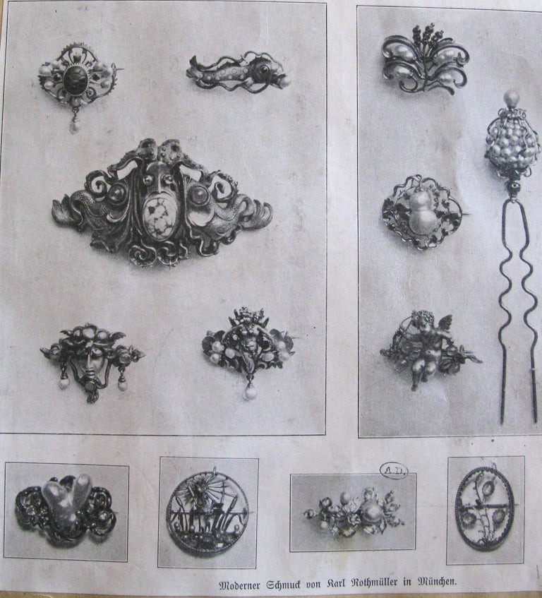 Women's or Men's Karl Rothmüller Jugendstil Medusa Brooch For Sale