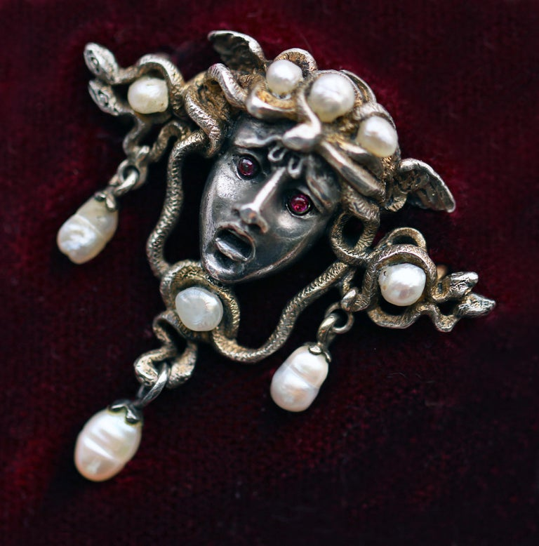 Karl Rothmüller Jugendstil Medusa Brooch For Sale 4