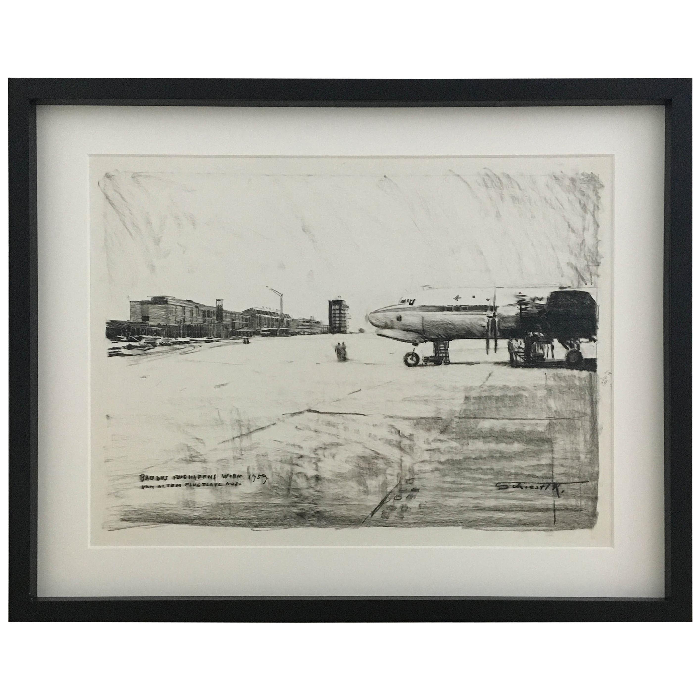 Karl Schiestl Original Airport Vienna 'Neubau' Drawings 'No. I', Austria, 1959