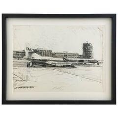 Karl Schiestl Original Airport Vienna 'Neubau' Drawings 'No. II', Austria, 1959