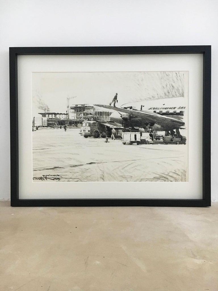 Austrian Karl Schiestl Original Airport Vienna 'Neubau' Drawings 'No. IIII', Austria 1959 For Sale