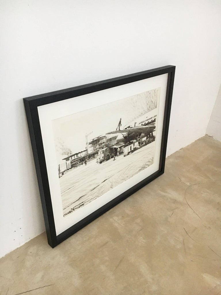 Paint Karl Schiestl Original Airport Vienna 'Neubau' Drawings 'No. IIII', Austria 1959 For Sale