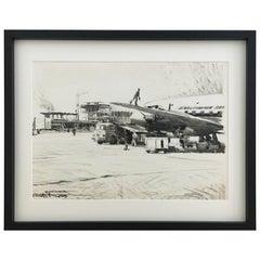 Karl Schiestl Original Airport Vienna 'Neubau' Drawings 'No. IIII', Austria 1959