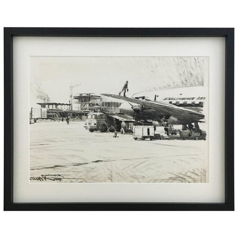 Karl Schiestl Original Airport Vienna 'Neubau' Drawings 'No. IIII', Austria 1959 For Sale