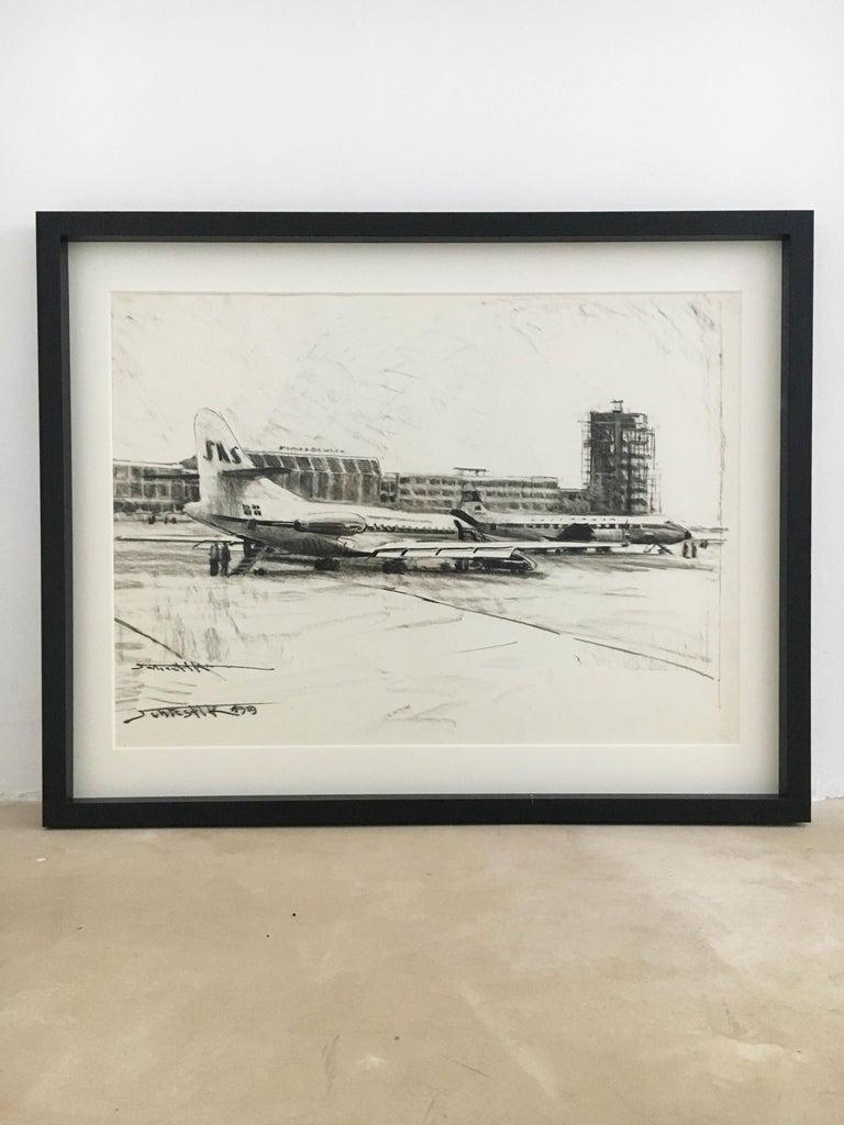 Karl Schiestl Set of Four Large Airport Vienna 'Neubau' Drawings, Austria 1959 For Sale 4