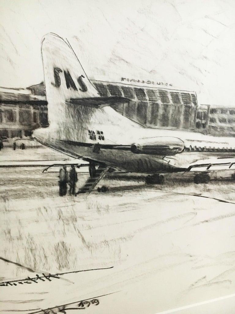Karl Schiestl Set of Four Large Airport Vienna 'Neubau' Drawings, Austria 1959 For Sale 5