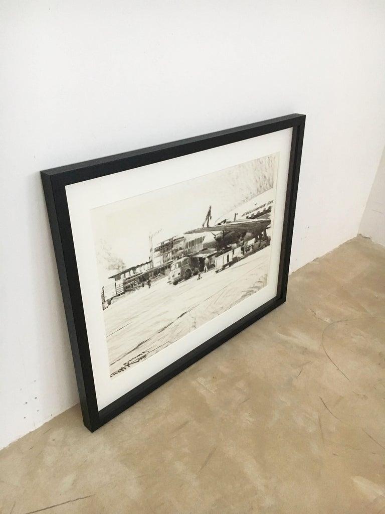Karl Schiestl Set of Four Large Airport Vienna 'Neubau' Drawings, Austria 1959 For Sale 11