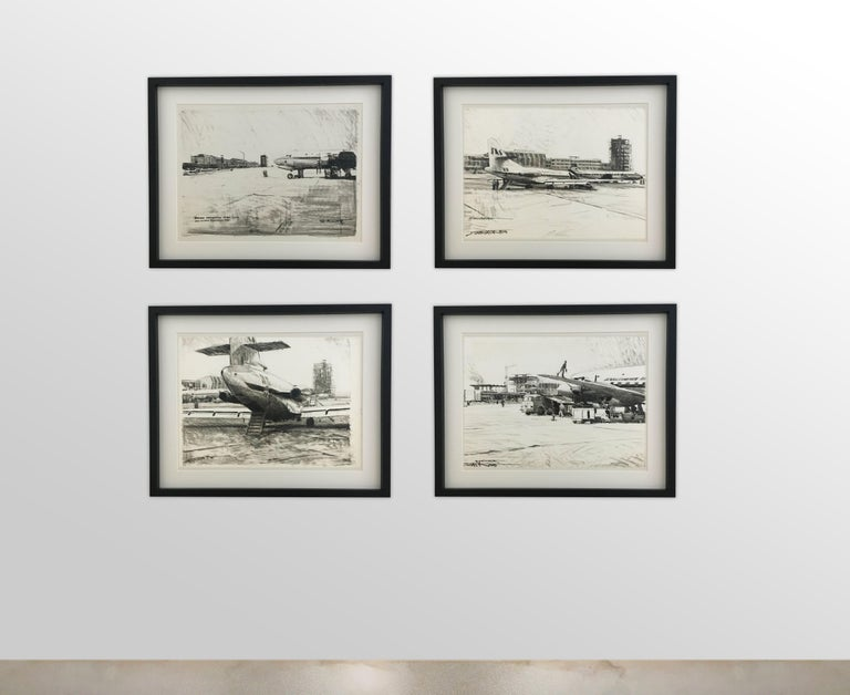 Karl Schiestl set of four large Airport Vienna 'Neubau' drawings, Austria, 1959.
