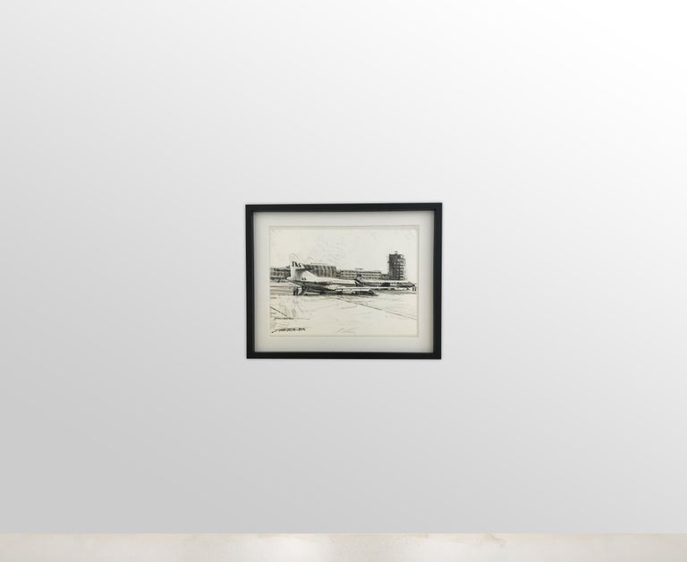 Karl Schiestl Set of Four Large Airport Vienna 'Neubau' Drawings, Austria 1959 In Good Condition For Sale In Vienna, AT