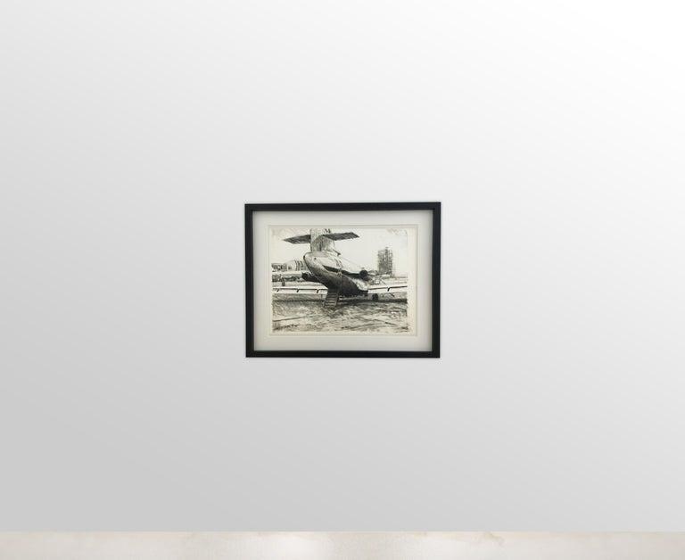 Mid-20th Century Karl Schiestl Set of Four Large Airport Vienna 'Neubau' Drawings, Austria 1959 For Sale