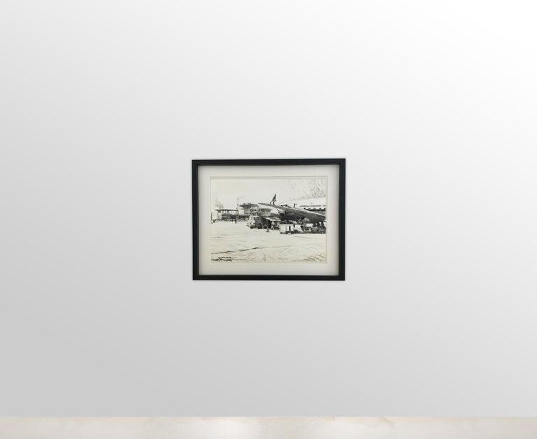 Paint Karl Schiestl Set of Four Large Airport Vienna 'Neubau' Drawings, Austria 1959 For Sale