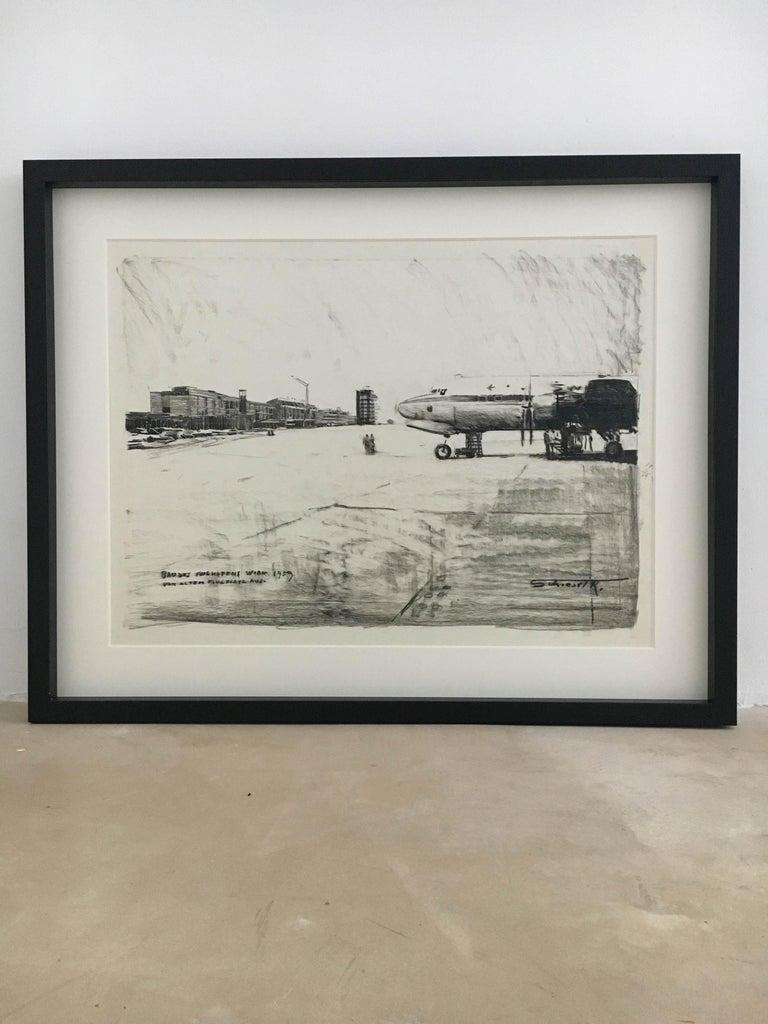 Karl Schiestl Set of Four Large Airport Vienna 'Neubau' Drawings, Austria 1959 For Sale 1