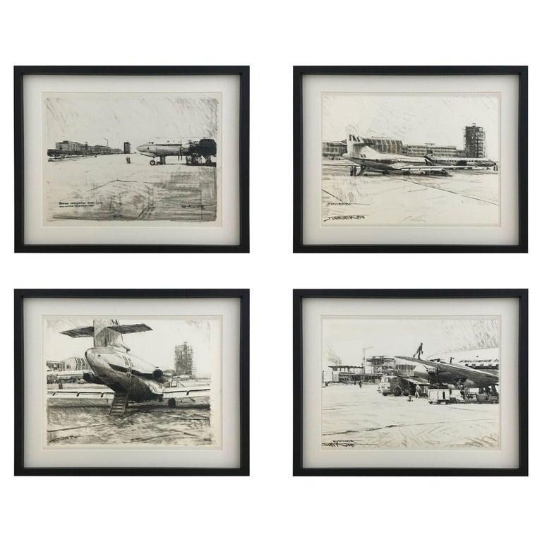 Karl Schiestl Set of Four Large Airport Vienna 'Neubau' Drawings, Austria 1959 For Sale