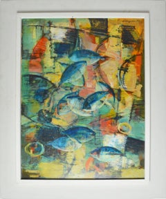 Abstract Expressionist Composition with Fish by Karl Schlageter