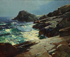 "Karl Schmidt ""Monhegan"" Seascape Painting Museum Deaccession"