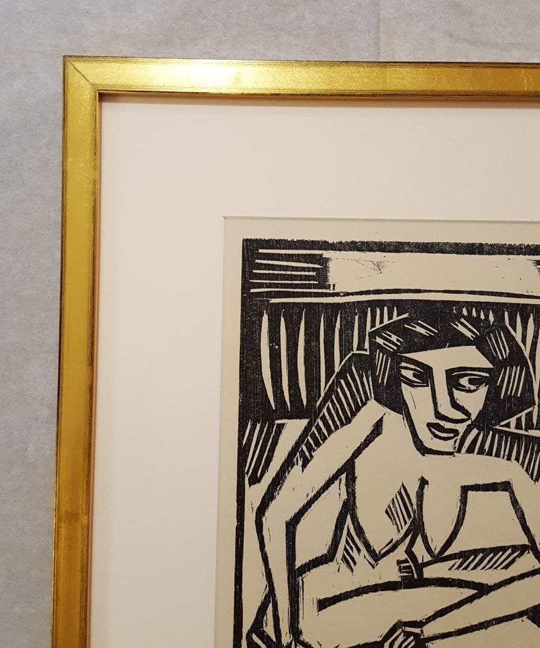 Frau in der Wanne (Woman in Tub) - Black Nude Print by Karl Schmidt-Rottluff